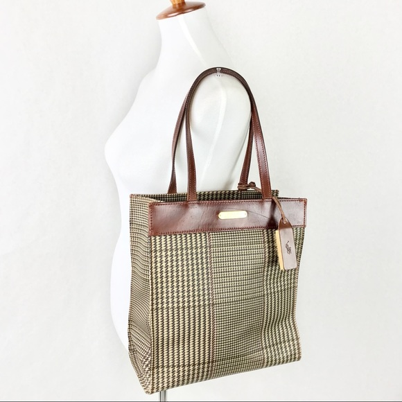 e16bbe1b22 Polo Ralph Lauren Tote Houndstooth With Brush Vtg.  M 5af333323316270fe12c90e2